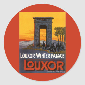 Sticker Rond Voyage vintage, palais d'hiver de Louxor, Egypte