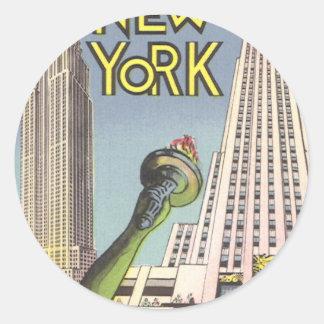 Sticker Rond Voyage vintage, points de repère célèbres de New