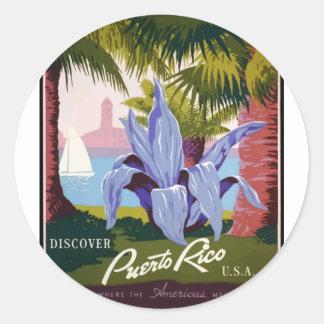Sticker Rond Voyage vintage Porto Rico