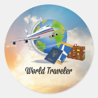 Sticker Rond Voyageur du monde, conception 2