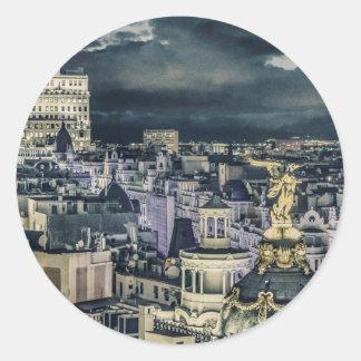 Sticker Rond Vue aérienne de scène de nuit de paysage urbain de