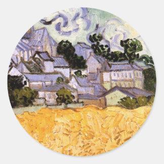 Sticker Rond Vue de Van Gogh d'Auvers avec l'église, beaux-arts