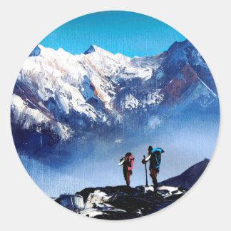 Sticker Rond Vue panoramique de montagne maximale d'Ama Dablam