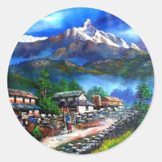 Sticker Rond Vue panoramique de montagne Népal d'Everest