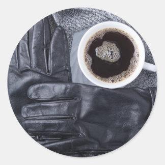 Sticker Rond Vue supérieure d'une tasse blanche de café et de