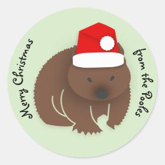 Sticker Rond Wombat de Noël