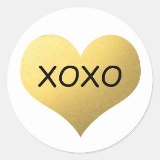 Sticker Rond Xoxo de coeur de feuille d'or de Faux