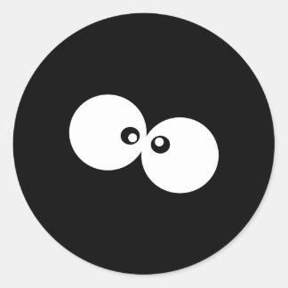 Sticker Rond Yeux de bande dessinée, yeux écarquillés - blanc