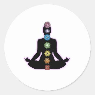Sticker Rond Yoga Chakras