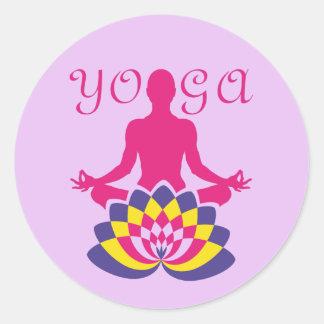 Sticker Rond Yoga Flor de Loto
