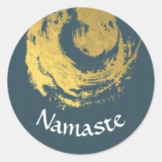 Sticker Rond ZEN bleu d'or d'instructeur de méditation de yoga