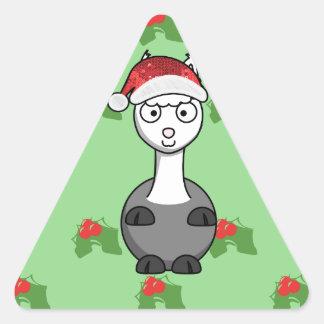 Sticker Triangulaire alpaga de père Noël de Noël