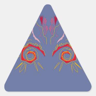 Sticker Triangulaire Argent élégant de rouge de henné de conception