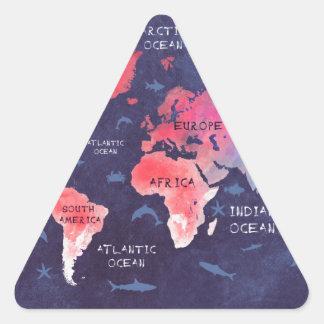 Sticker Triangulaire art de carte du monde