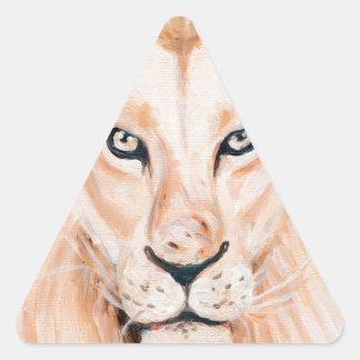 Sticker Triangulaire Art fort d'huile de portrait de lion