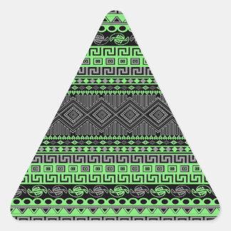 Sticker Triangulaire Aztèque noir gris vert au néon à la mode d'été