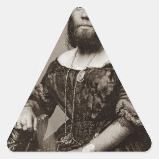 Sticker Triangulaire Belle Madame barbue