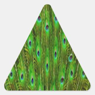 Sticker Triangulaire Belles plumes de paon