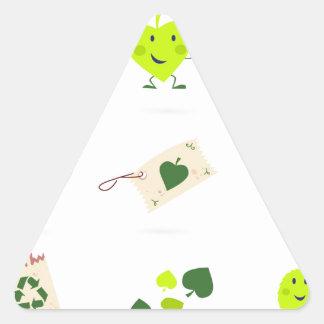 Sticker Triangulaire Bio vert mignon d'icônes d'enfants