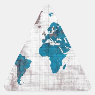 Sticker Triangulaire bleu blanc de carte du monde