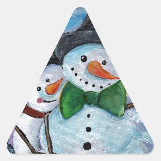 Sticker Triangulaire Bonhommes de neige de visite cardinaux
