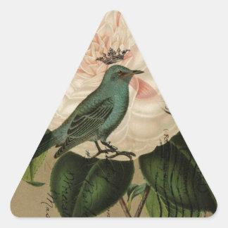 Sticker Triangulaire Botanique français d'oiseau turquoise vintage de