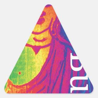 Sticker Triangulaire Bouddha cassé au néon