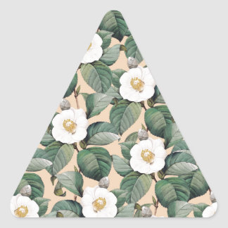 Sticker Triangulaire Camélia blanc sur le motif beige