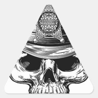 Sticker Triangulaire Casquette de cowboy de crâne d'insigne d'étoile de