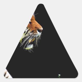 Sticker Triangulaire Chat dangereux de fourrure prédatrice de tigre
