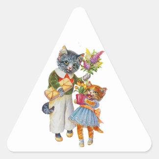 Sticker Triangulaire Chats d'Arthur Thiele soutenant des cadeaux