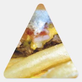 Sticker Triangulaire Cheeseburger et fritures
