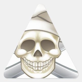 Sticker Triangulaire Chef de couteau et de pirate de fourchette