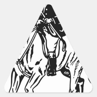 Sticker Triangulaire Cheval et cavalier