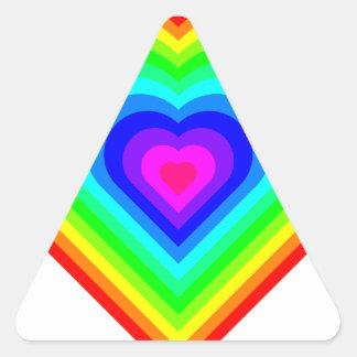 Sticker Triangulaire Coeur d'arc-en-ciel