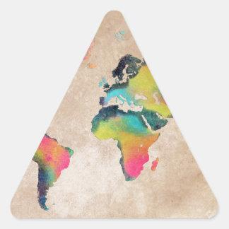 Sticker Triangulaire couleurs de carte du monde