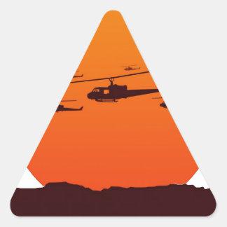 Sticker Triangulaire couperets à la plage de coucher du soleil