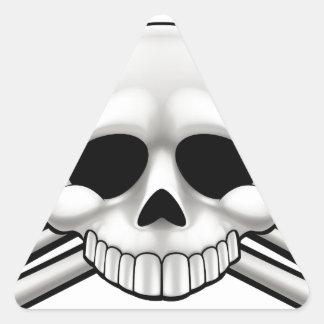 Sticker Triangulaire Crâne et os croisés