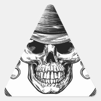 Sticker Triangulaire Crâne et pistolets de cowboy
