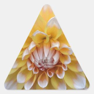 Sticker Triangulaire Dahlia jaune et blanc