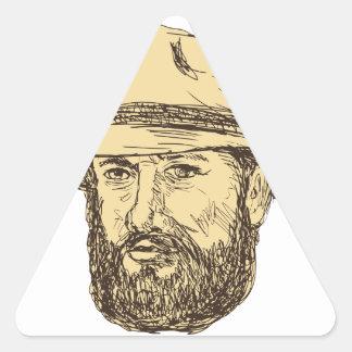 Sticker Triangulaire Dessin barbu de tête de cowboy