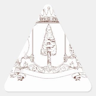Sticker Triangulaire Dessin de crête de couronne de séquoia de hibou et