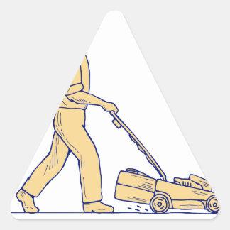 Sticker Triangulaire Dessin de fauchage de tondeuse à gazon de