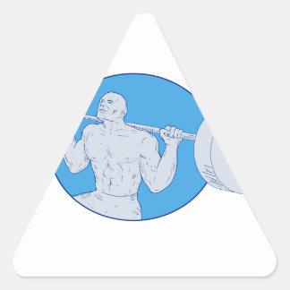 Sticker Triangulaire Dessin d'haltère de Powerlifting d'homme fort