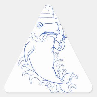 Sticker Triangulaire Dessin révélateur d'épaulard d'orque