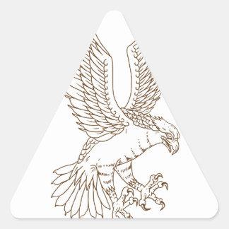 Sticker Triangulaire Dessin Swooping de balbuzard