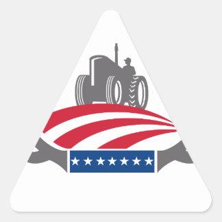 Sticker Triangulaire Drapeau américain de tracteur de ferme d'Antler
