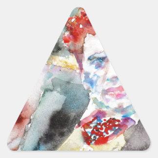Sticker Triangulaire Dylan Thomas - aquarelle portrait.2