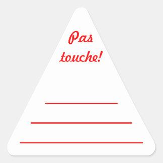 """Sticker Triangulaire Etiquette confiture rouge """"Pas touche!"""""""