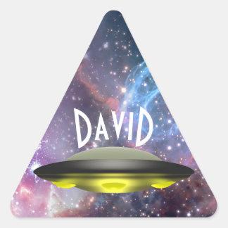 Sticker Triangulaire Feuille nommée d'autocollant d'UFO de galaxie